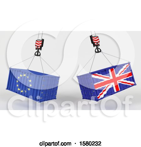 Clipart of 3d Hoisted Shipping Containers with Uk and Eu Flags - Royalty Free Illustration by KJ Pargeter