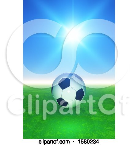Clipart of a 3d Soccer Ball Against a Sunny Sky - Royalty Free Illustration by KJ Pargeter