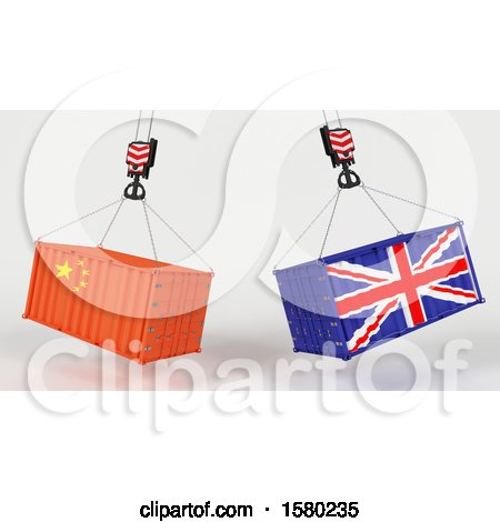 Clipart of 3d Hoisted Shipping Containers with Chinese and Uk Flags - Royalty Free Illustration by KJ Pargeter