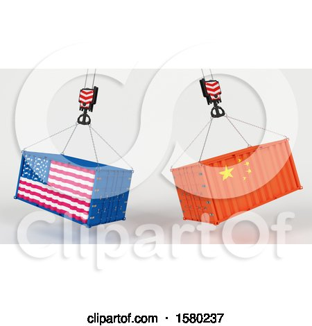 Clipart of 3d Hoisted Shipping Containers with American and Chinese Flags - Royalty Free Illustration by KJ Pargeter