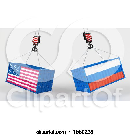 Clipart of 3d Hoisted Shipping Containers with American and Russian Flags - Royalty Free Illustration by KJ Pargeter