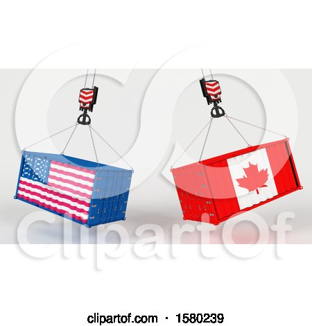 Clipart of 3d Hoisted Shipping Containers with American and Canadian Flags - Royalty Free Illustration by KJ Pargeter