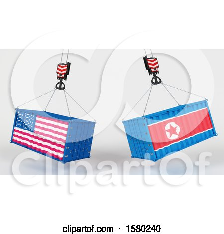 Clipart of 3d Hoisted Shipping Containers with American and North Korean Flags - Royalty Free Illustration by KJ Pargeter