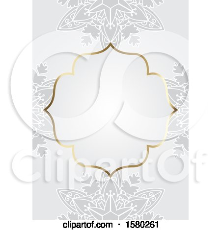 Clipart of a Blank Frame over Gray Floral - Royalty Free Vector Illustration by KJ Pargeter