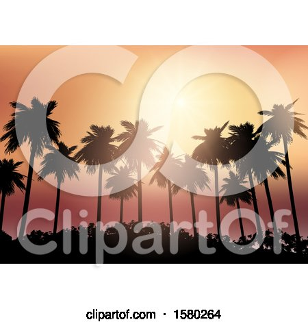 Clipart of a Silhouetted Palm Tree Orange Sunset Background - Royalty Free Vector Illustration by KJ Pargeter
