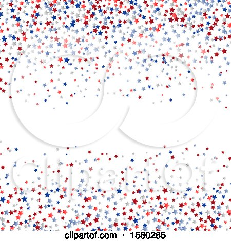 Clipart of a Red White and Blue Star Confetti Independence Day Background - Royalty Free Vector Illustration by KJ Pargeter