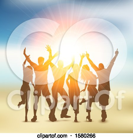 Clipart of a Silhouetted Group of Party People over a Sunset - Royalty Free Vector Illustration by KJ Pargeter