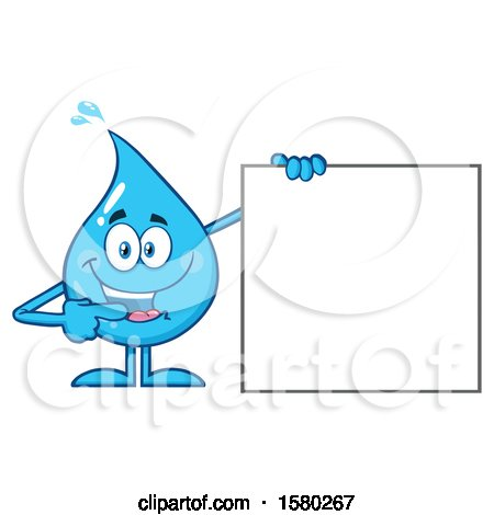 Clipart of a Water Drop Mascot Character Pointing to a Blank Sign - Royalty Free Vector Illustration by Hit Toon