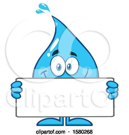 Clipart of a Water Drop Mascot Character Holding a Blank Sign - Royalty Free Vector Illustration by Hit Toon