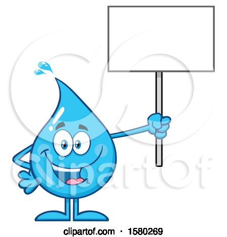Clipart of a Water Drop Mascot Character Holding up a Blank Sign - Royalty Free Vector Illustration by Hit Toon