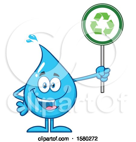 Clipart of a Water Drop Mascot Character Holding a Recycle Sign - Royalty Free Vector Illustration by Hit Toon
