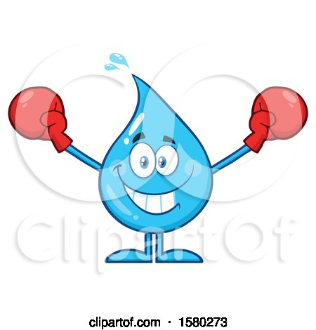 Clipart of a Water Drop Mascot Character Wearing Boxing Gloves - Royalty Free Vector Illustration by Hit Toon