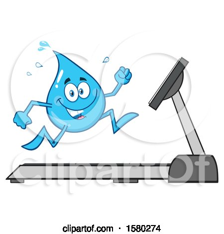 Clipart of a Water Drop Mascot Character Running on a Treadmill - Royalty Free Vector Illustration by Hit Toon