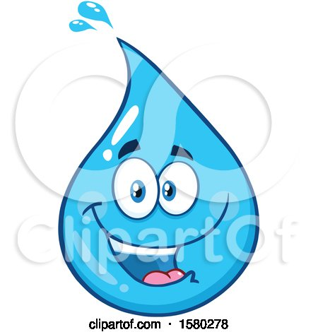 Clipart of a Water Drop Mascot Character - Royalty Free Vector Illustration by Hit Toon