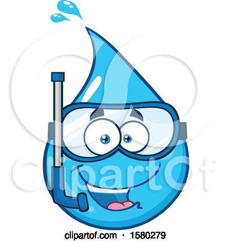 Clipart of a Water Drop Mascot Character Wearing a Snorkel Mask - Royalty Free Vector Illustration by Hit Toon