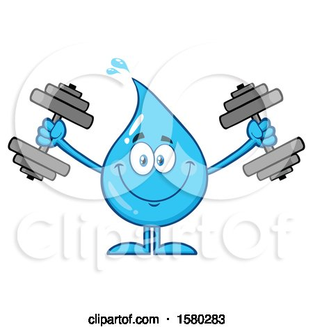 Clipart of a Water Drop Mascot Character Working out with Dumbbells - Royalty Free Vector Illustration by Hit Toon