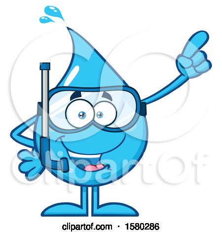 Clipart of a Water Drop Mascot Character Holding up a Finger and Wearing a Snorkel Mask - Royalty Free Vector Illustration by Hit Toon