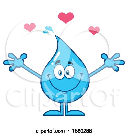 Clipart of a Water Drop Mascot Character with Hearts - Royalty Free Vector Illustration by Hit Toon