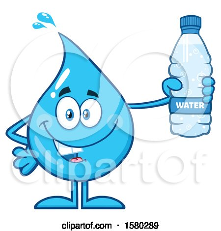 Clipart of a Water Drop Mascot Character Holding a Bottle - Royalty Free Vector Illustration by Hit Toon