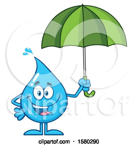 Clipart of a Water Drop Mascot Character Holding an Umbrella - Royalty Free Vector Illustration by Hit Toon