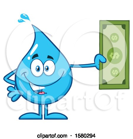 Clipart of a Water Drop Mascot Character Holding Cash Money - Royalty Free Vector Illustration by Hit Toon