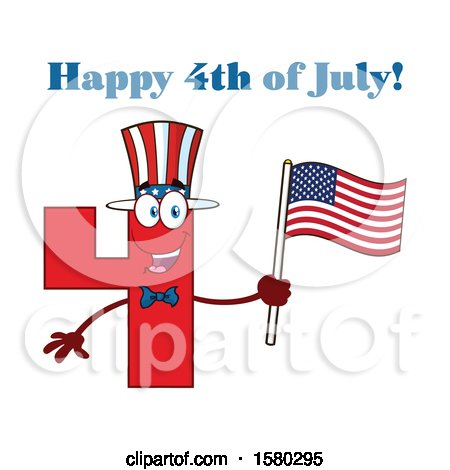 Clipart of a Patriotic Red Number Four Mascot Character Holding an American Flag Under Happy 4th of July Text - Royalty Free Vector Illustration by Hit Toon