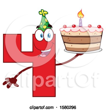 Clipart of a Red Number Four Mascot Character Holding a Birthday Cake - Royalty Free Vector Illustration by Hit Toon