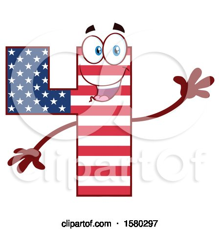 Clipart of a Patriotic American Flag Patterned Number Four Mascot Character Waving - Royalty Free Vector Illustration by Hit Toon