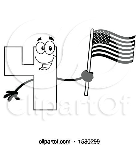 Clipart of a Black and White Number Four Mascot Character Holding an American Flag - Royalty Free Vector Illustration by Hit Toon