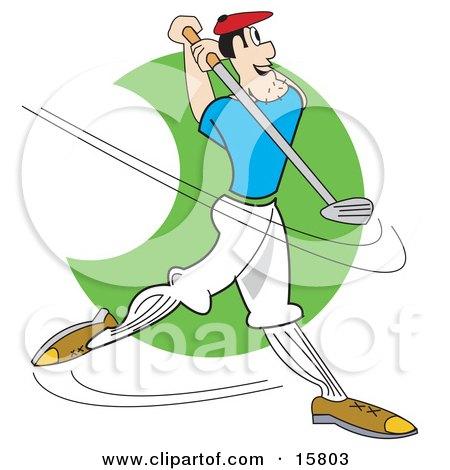 Male Golfer Swinging A Golf Club Clipart Illustration