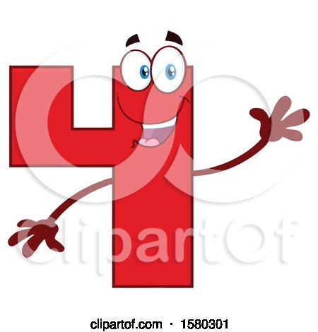 Clipart of a Red Number Four Mascot Character Waving - Royalty Free Vector Illustration by Hit Toon