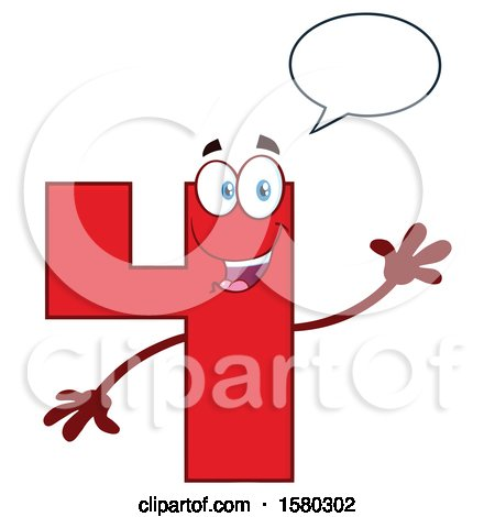 Clipart of a Red Number Four Mascot Character Talking and Waving - Royalty Free Vector Illustration by Hit Toon