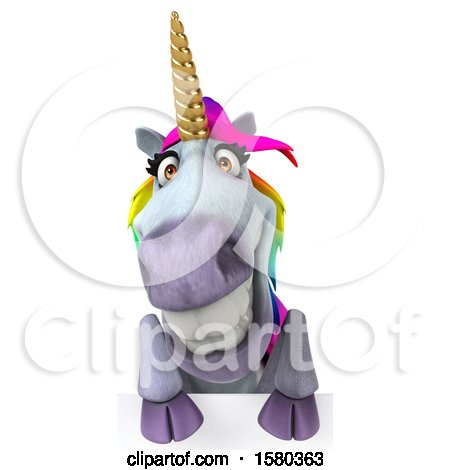 Clipart of a 3d Unicorn over a Sign, on a White Background - Royalty Free Illustration by Julos