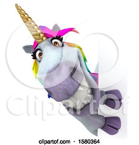 Clipart of a 3d Unicorn Looking Around a Sign, on a White Background - Royalty Free Illustration by Julos