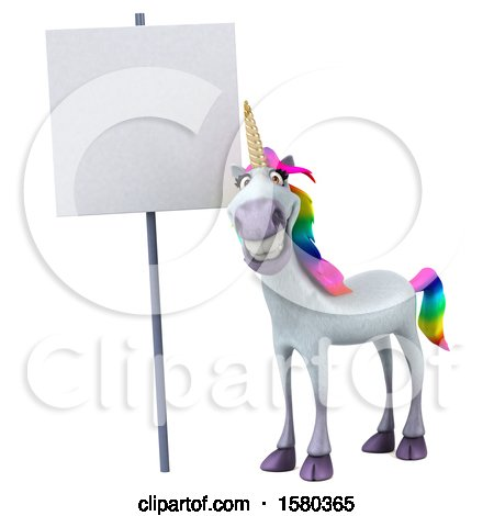 Clipart of a 3d Unicorn by a Blank Sign, on a White Background - Royalty Free Illustration by Julos