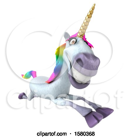 Clipart of a 3d Unicorn Running, on a White Background - Royalty Free Illustration by Julos