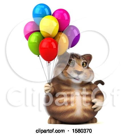 Clipart of a 3d Tabby Kitty Cat Holding Balloons, on a White Background - Royalty Free Illustration by Julos