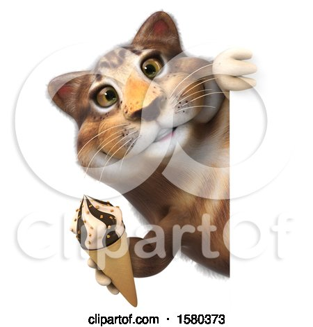 Clipart of a 3d Tabby Kitty Cat Holding a , on a White Background - Royalty Free Illustration by Julos