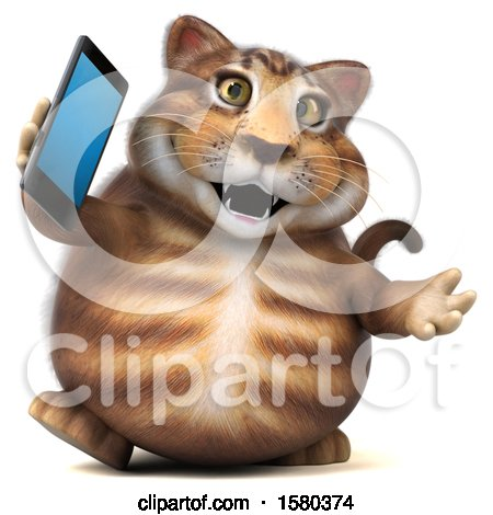 Clipart of a 3d Tabby Kitty Cat Holding a Smart Phone, on a White Background - Royalty Free Illustration by Julos