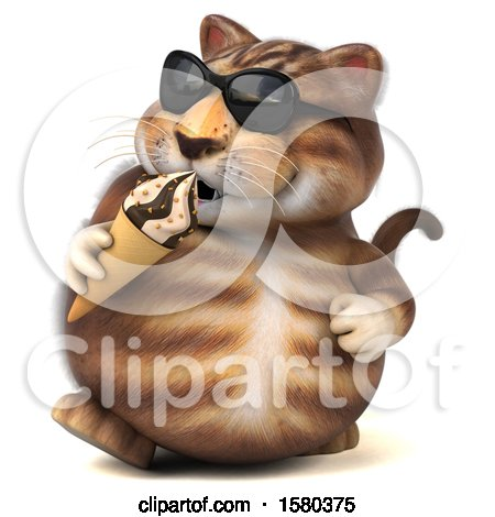 Clipart of a 3d Tabby Kitty Cat Holding a Waffle Cone, on a White Background - Royalty Free Illustration by Julos