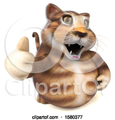 Clipart of a 3d Tabby Kitty Cat Giving a Thumb Up, on a White Background - Royalty Free Illustration by Julos