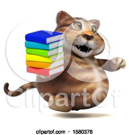 Clipart of a 3d Tabby Kitty Cat Holding Books, on a White Background - Royalty Free Illustration by Julos