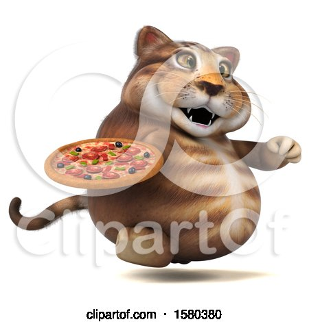 Clipart of a 3d Tabby Kitty Cat Holding a Pizza, on a White Background - Royalty Free Illustration by Julos
