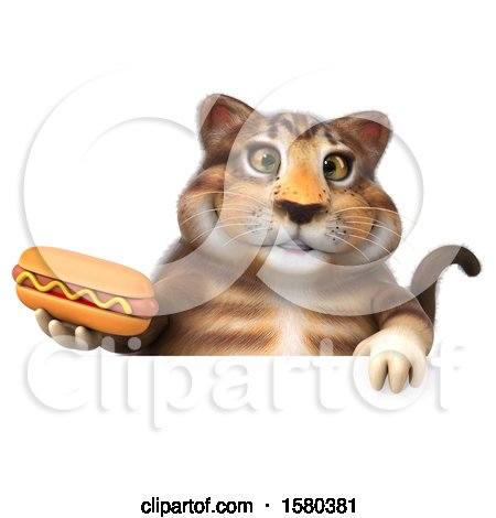 Clipart of a 3d Tabby Kitty Cat Holding a Hot Dog, on a White Background - Royalty Free Illustration by Julos