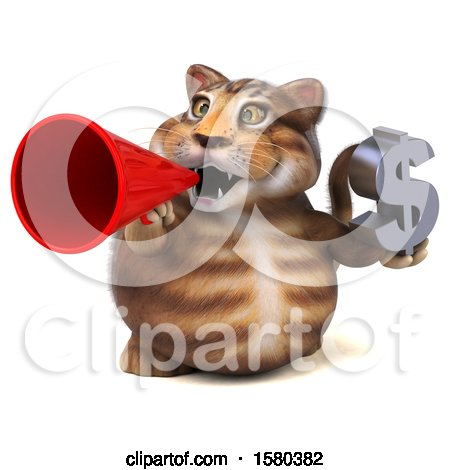 Clipart of a 3d Tabby Kitty Cat Holding a Dollar Sign, on a White Background - Royalty Free Illustration by Julos