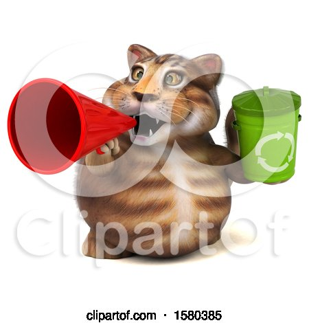 Clipart of a 3d Tabby Kitty Cat Holding a Recycle Bin, on a White Background - Royalty Free Illustration by Julos