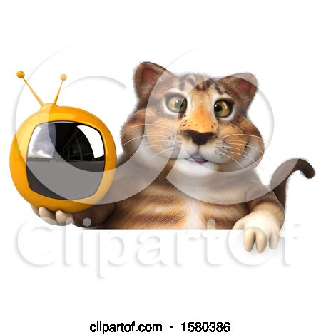 Clipart of a 3d Tabby Kitty Cat Holding a Tv, on a White Background - Royalty Free Illustration by Julos