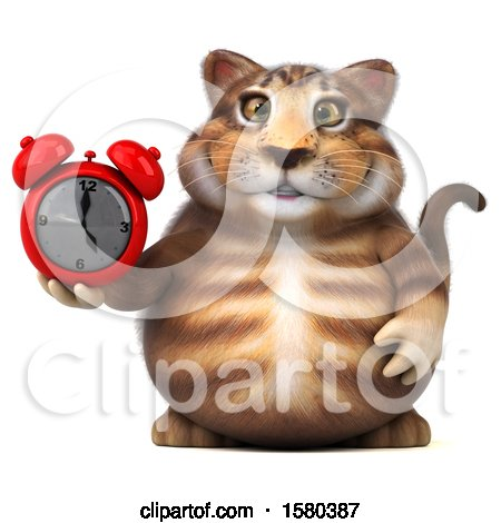 Clipart of a 3d Tabby Kitty Cat Holding an Alarm Clock, on a White Background - Royalty Free Illustration by Julos