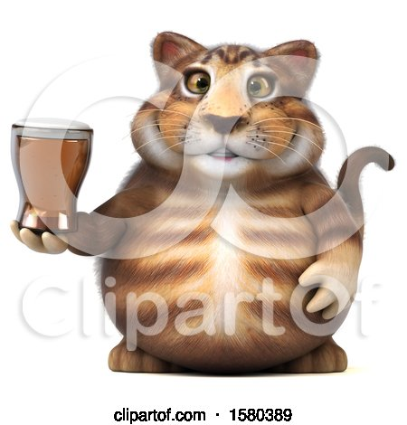 Clipart of a 3d Tabby Kitty Cat Holding a Beer, on a White Background - Royalty Free Illustration by Julos
