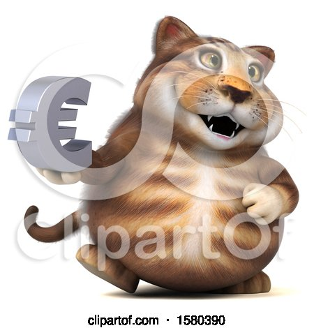 Clipart of a 3d Tabby Kitty Cat Holding a Euro, on a White Background - Royalty Free Illustration by Julos